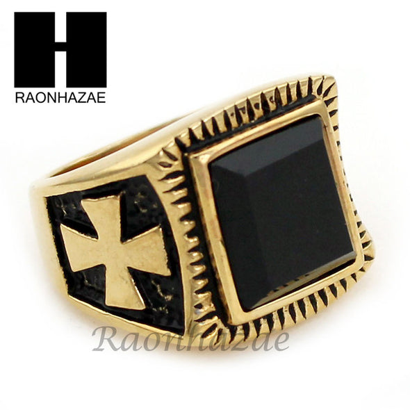 MEN STAINLESS STEEL HIP HOP CROSS 14K GOLD TONE BLACK ONYX RING 8-12 SR032CL - Raonhazae