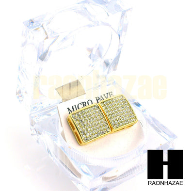 New Hip Hop Gold Tone Micro Pave Jumbo 15mm Bling Square Earring G134 - Raonhazae