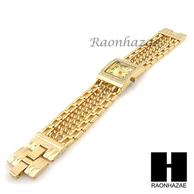 Women Swarovski Gold Filled Varsales Luxury CZ Stone Cuban Link Chain Watch G227 - Raonhazae