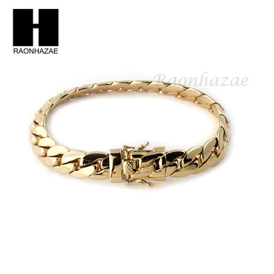 14k Gold Finish Heavy 9mm Miami Cuban Link Chain Necklace Bracelet Various SetF - Raonhazae
