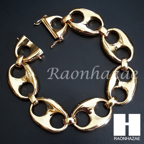 "14K Gold PT 23mm 9"" 30"" Heavy Puffed Mariner Gucci Link Slide Lock Chain M02 - Raonhazae"