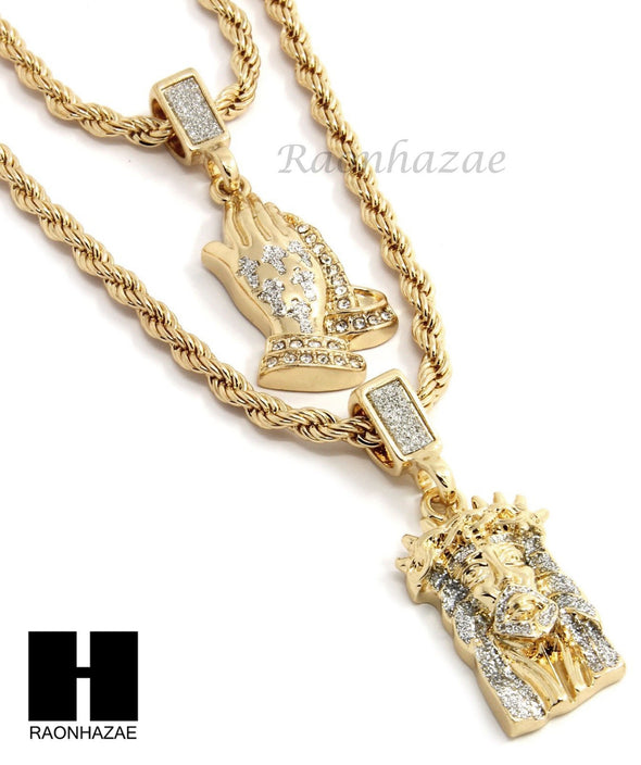 "MEN ICED OUT JESUS FACE PRAYING HANDS 24"" 30"" ROPE CHAIN NECKLACES COMBO SET G38 - Raonhazae"