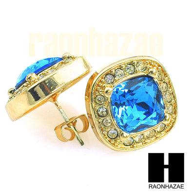HipHop IcedOut RICK ROSS Gold Tone Micro pave Sapphire Stone Bling Earrings G132 - Raonhazae