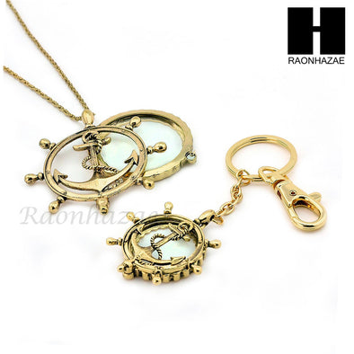 Gold Magnifying Glass Wheel with Anchor Key Chain & Pendant Chain Necklace Set SJ1G - Raonhazae