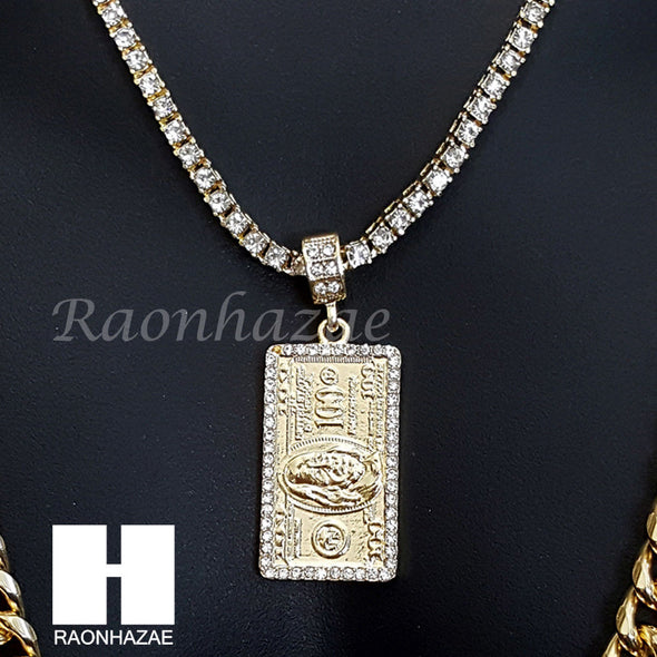"$100 HUNDRED DOLLAR 16""-30"" TENNIS CHAIN 30"" CUBAN CHAIN NECKLACE G33 - Raonhazae"