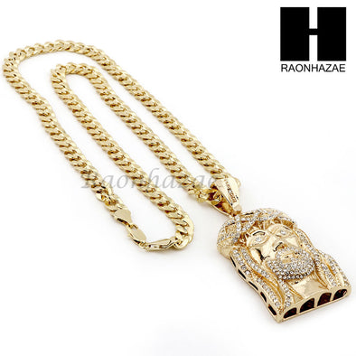 "MEN ICED OUT LIL WAYNE JESUS FACE & DIAMOND CUT CUBAN 24"" 30"" 36"" CHAIN NECKLACE - Raonhazae"