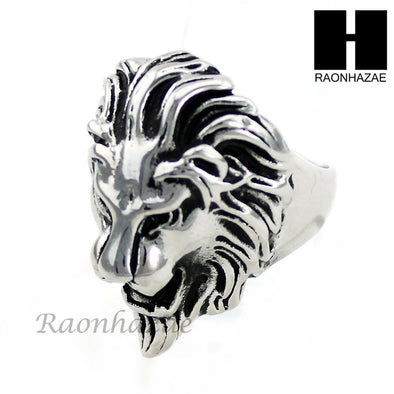 MEN STAINLESS STEEL ANTIQUE SILVER TONE LION FACE RING 8-12 SR035CL - Raonhazae