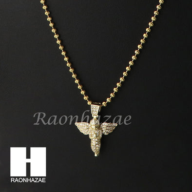 Sterling Silver .925 AAA Lab Diamond Mini Angel w/2.5mm Moon Chain S39 - Raonhazae