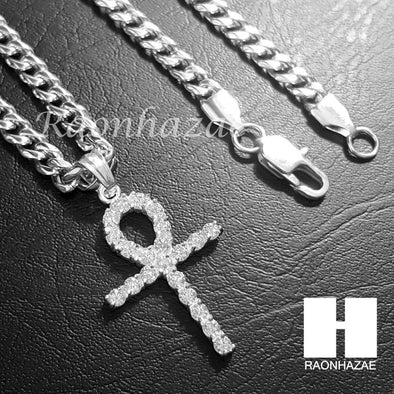 316L Stainless steel Silver Egyt Ankh Cross 5mm Cuban Chain SG015 - Raonhazae