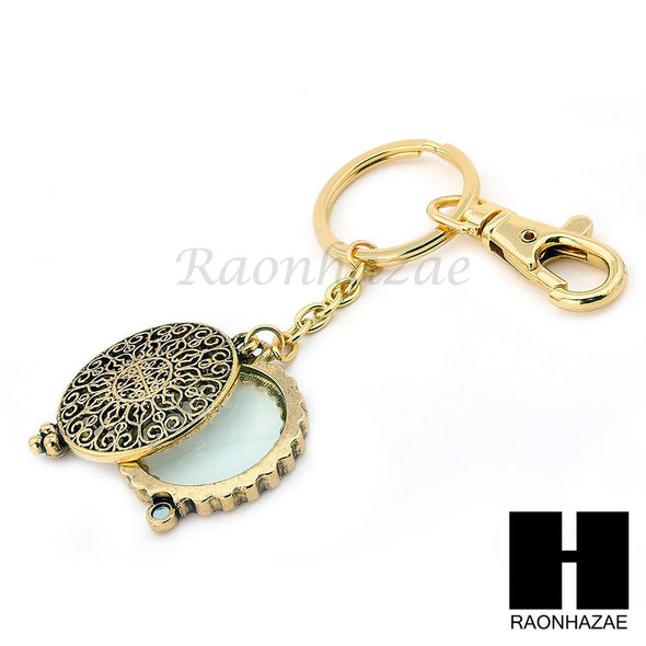 Gold 5X Magnifying Glass Round Filigree Key Chain Pendant Chain Necklace Set SJ3G - Raonhazae