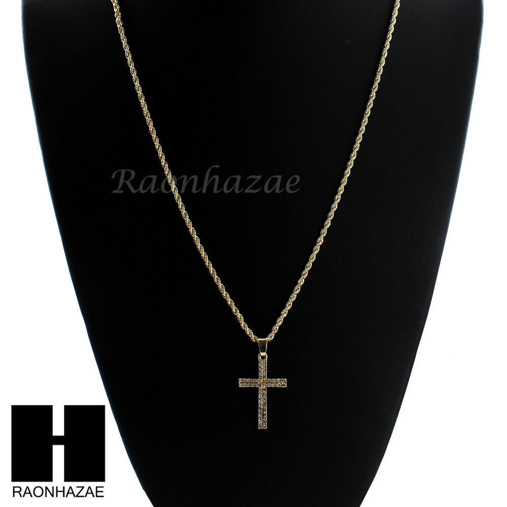 Mens Gold Silver Mini Cross Cz Pendant 24 Rope Chain Necklace Set Sc1 Raonhazae
