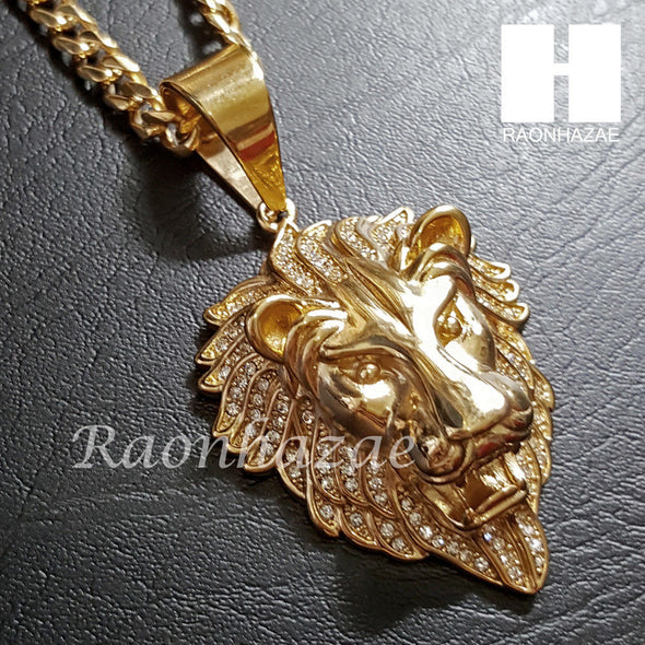 316L Stainless steel Gold Bling King Lion w/ 5mm Cuban Chain SG7 - Raonhazae