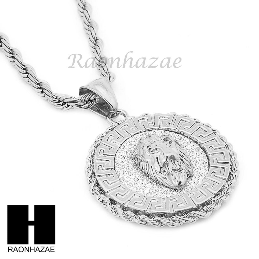 lion stainless rope pendant chain medallion mens products s steel necklace face