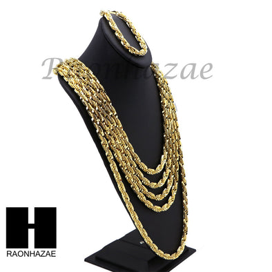 NEW 14k Gold Finish 8mm MIGOS DIGITAL ROPE Chain Necklace Bracelet Various SetA - Raonhazae