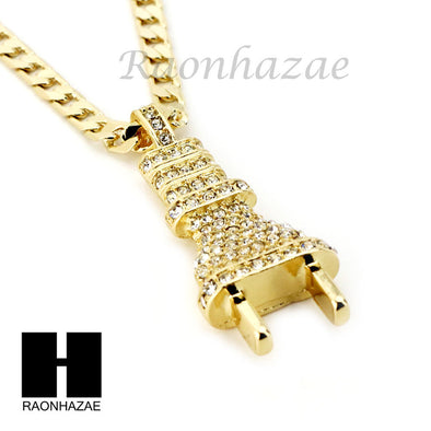"RUBY PLUG CZ PENDANT 24"" 30"" CUBAN LINK ROPE CUBAN NECKLACE SET D022 - Raonhazae"