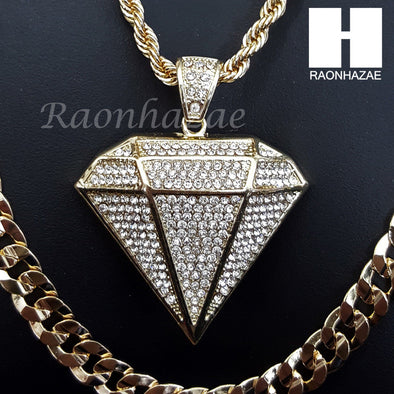 "DIAMOND SHAPE ROPE CHAIN DIAMOND CUT 30"" CUBAN CHAIN NECKLACE SET G10 - Raonhazae"