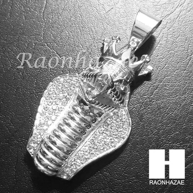 316L Stainless steel Silver King Cobra w/ 5mm Cuban Chain SG010 - Raonhazae