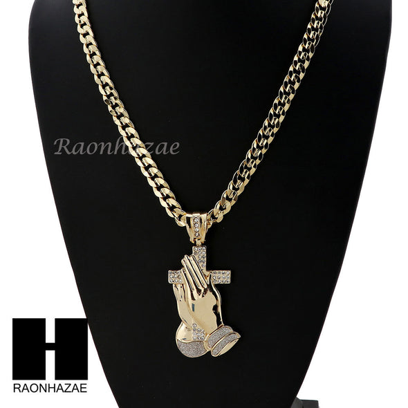 ICED OUT L PRAYING HANDS HOLDING CROSS PENDANT & DIAMOND CUT CUBAN LINK CHAIN 48 - Raonhazae