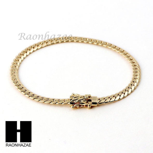 14k Gold Finish Heavy 5mm Miami Cuban Link Chain Necklace Bracelet Various Set D - Raonhazae