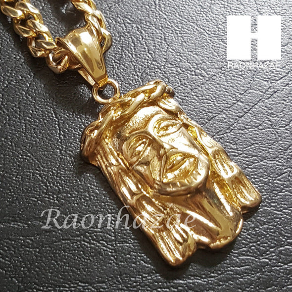 316L Stainless steel Gold Jesus Face w/ 5mm Cuban Chain SG016 - Raonhazae