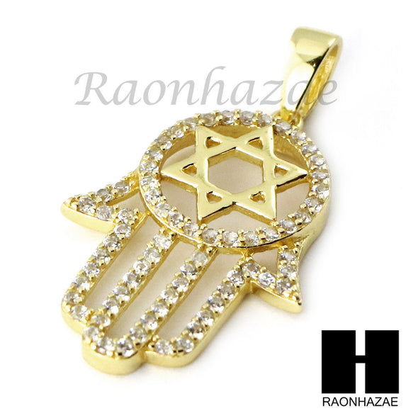 Iced Out Sterling Silver .925 Hamsa 6 Points Star David 2.5mm Moon Cut Chain S01 - Raonhazae