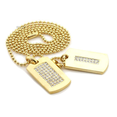 "NEW HIP HOP DOUBLE DOG TAG 18k GOLD FILLED W 30"" BALL CHAINS DTC002GS - Raonhazae"