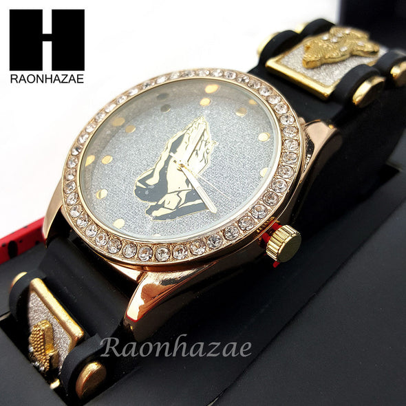 MEN ICED OUT PRAYING HANDS WATCH & PENDANT CUBAN CHAIN NECKLACE GIFT SET SS80 - Raonhazae
