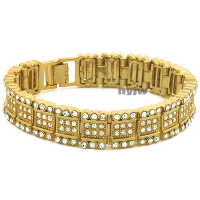 "NEW ICED HEAVY GOLD PLATED MICRO PAVE SIMULATED DIAMOND 8.5"" BRACELET KB034G - Raonhazae"