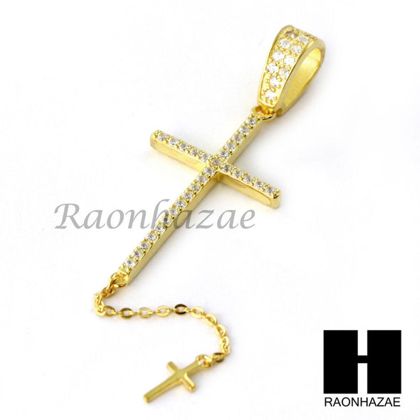Sterling Silver .925 AAA Lab Diamond Jesus Cross w/2.5mm Moon Chain S35 - Raonhazae