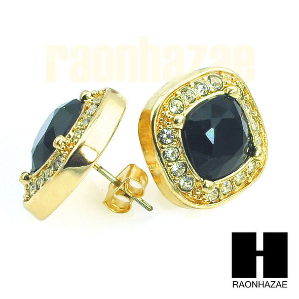HipHop Iced Out RICK ROSS Gold Tone Micro pave Onyx Black Stone Earrings GE133G - Raonhazae