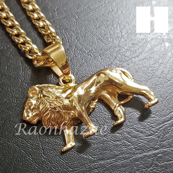316L Stainless steel Gold King Lion w/ 5mm Cuban Chain SG06 - Raonhazae