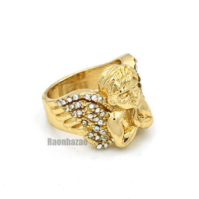 NEW MENS BIG CHUNKY GOLD ICED OUT MICRO MINI ANGEL RING KR012G - Raonhazae