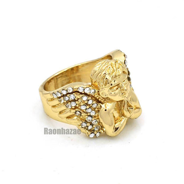 NEW MENS BIG CHUNKY GOLD MICRO MINI ANGEL RING KR012G - Raonhazae
