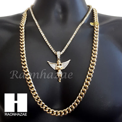 "ICED OUT 21 SAVAGE ANGEL CHARM 16""-30"" TENNIS CHAIN 30"" CUBAN CHAIN NECKLACE G18 - Raonhazae"
