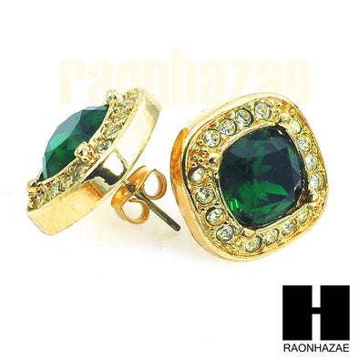 HipHop RICK ROSS Gold Tone Micro pave Emerald Green Bling Earrings G131 - Raonhazae