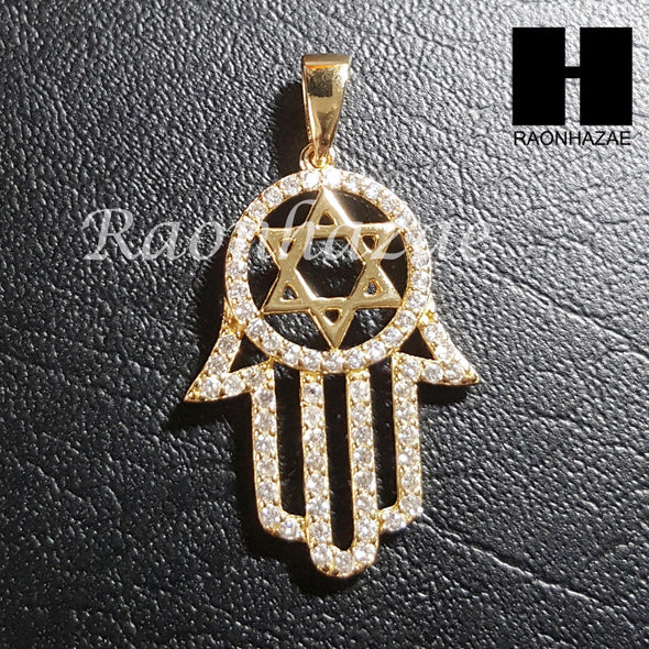 "Sterling Silver .925 AAA Lab Diamond Hamsa w/2.5mm 20"" 24"" Moon Cut Chain S43G - Raonhazae"