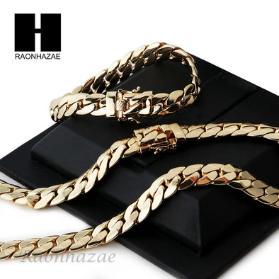 14k Gold Finish Heavy 12mm Miami Cuban Link Chain Necklace Bracelet Various SetE - Raonhazae