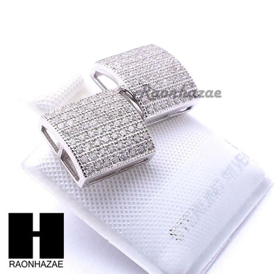 Iced Out Sterling Silver .925 Lab Diamond 10mm Square Screw Back Earring SE032S - Raonhazae