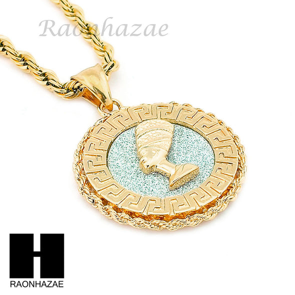 "MENS STAINLESS STEEL NEFERTITI MEDALLION PENDANT 24"" ROPE CHAIN NECKLACE NP011 - Raonhazae"