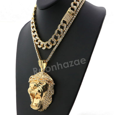 Hip Hop Quavo Roaring Lion Miami Cuban Choker Chain Tennis Necklace L54 - Raonhazae