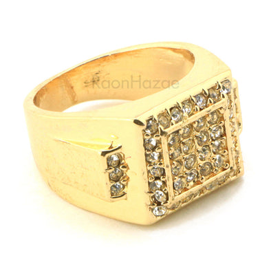 "HIP HOP FASHION ICED OUT SOLID ""TRAVIS SCOTT"" GOLD PLATED RING BK008G - Raonhazae"