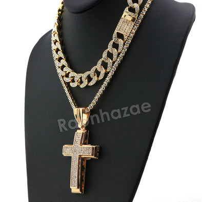 Hip Hop Quavo Cross Miami Cuban Choker Chain Tennis Necklace L46 - Raonhazae