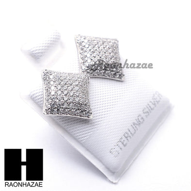 Iced Out Sterling Silver .925 Lab Diamond 10mm Square Screw Back Earring SE031S - Raonhazae