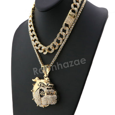Hip Hop Iced Out Quavo BULLDOG Miami Cuban Choker Chain Tennis Necklace L04 - Raonhazae