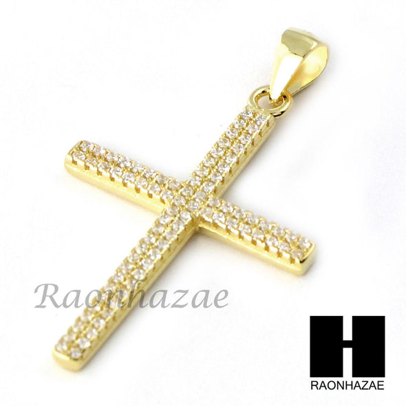 Iced Out Sterling Silver .925 AAA Lab Diamond Jesus Cross w/2.5mm Moon Chain S29 - Raonhazae