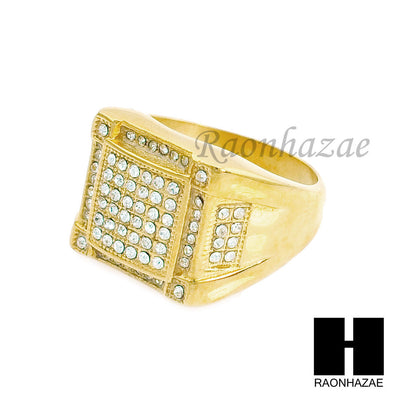 MEN RING 316L STAINLESS STEEL GOLD TONE CZ BLING RING SIZE 8-12 SR002G - Raonhazae