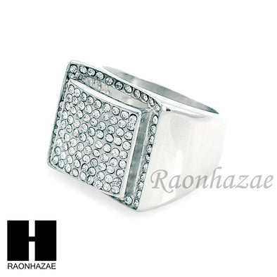 MEN RING 316L STAINLESS STEEL WHITE GOLD CZ BLING RING SIZE 8-12 SR013S - Raonhazae