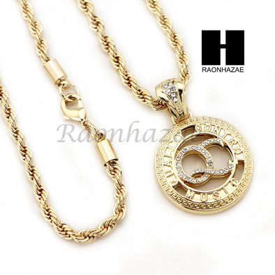 "MEN QC ROPE CHAIN DIAMOND CUT 30"" CUBAN LINK CHAIN NECKLACE SET SS03G - Raonhazae"