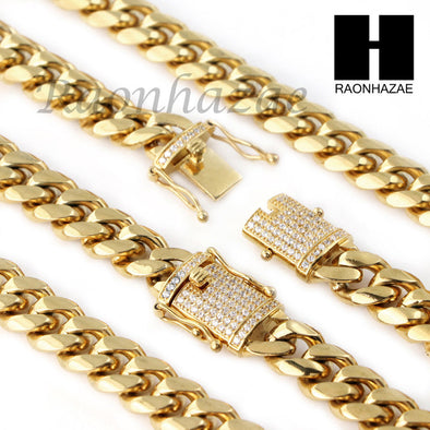 18k Gold Plated 12mm Diamond Clasp Miami Cuban Chain & Bracelet Set S01 - Raonhazae