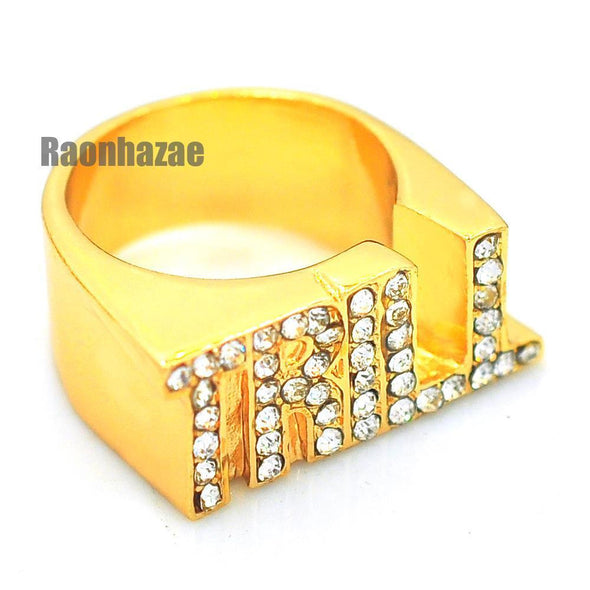 HIP HOP FASHION ICED OUT SOLID SWAG TRILL ENTERTAINMENT GOLD PLATED RING N007G - Raonhazae